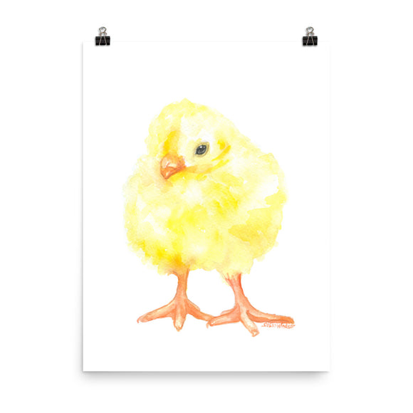 Yellow Baby Chick Watercolor Print