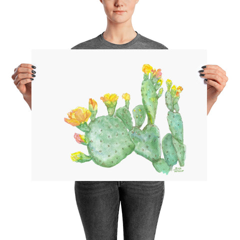Prickly Pear Cactus Watercolor