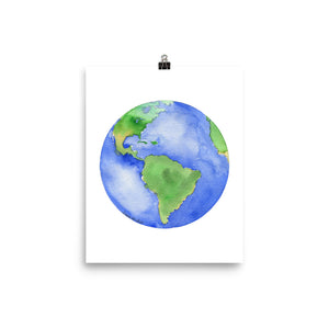 Earth Planet Watercolor art print