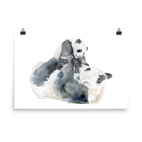 Mother and Baby Panda Bears Watercolor