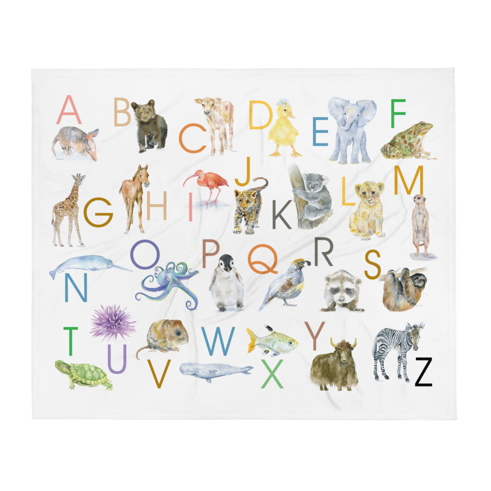 Animal Alphabet Watercolors Throw Blanket