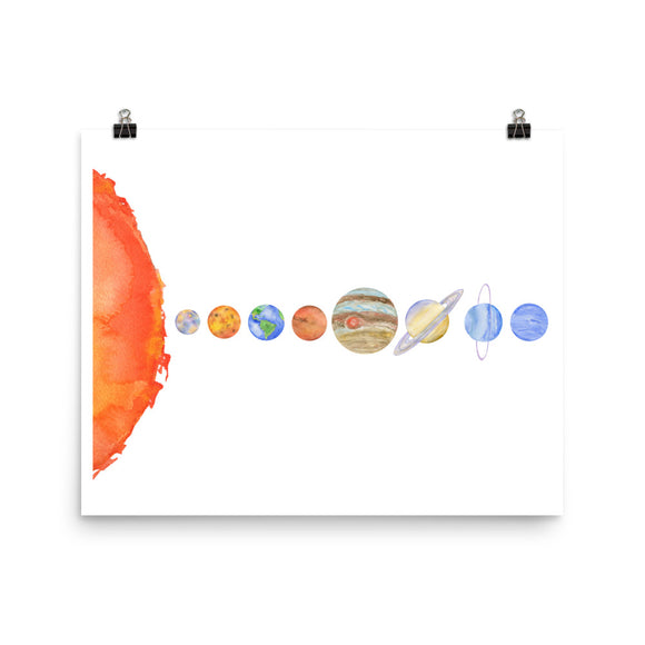 Solar System Planets Watercolor Print