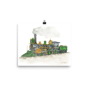 Steam Engine Train Watercolor