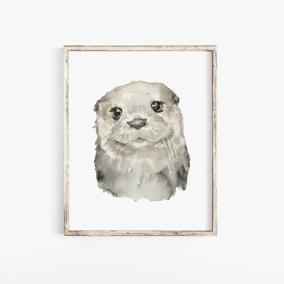 Otter Face Watercolor Print