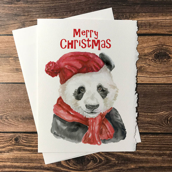 Panda Bear with Hat Christmas Card Set