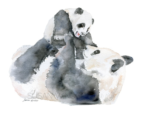 Panda Bears Watercolor - Mother and Baby