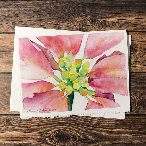 Watercolor Christmas Poinsettia Christmas Cards Set