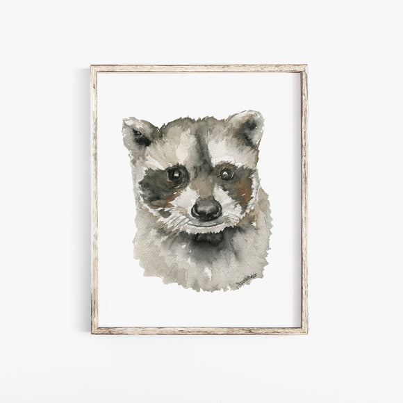 Baby Raccoon Face Watercolor