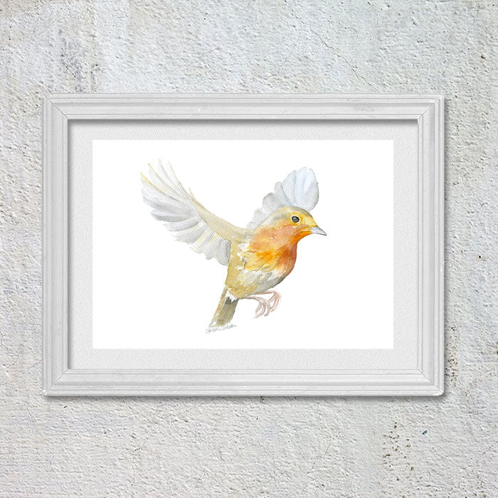 Robin in Flight Original Watercolor Painting
