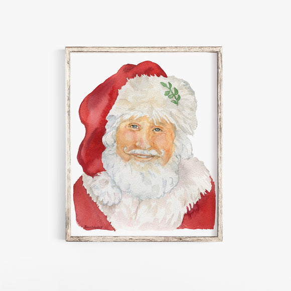 Santa Claus Christmas Watercolor Print