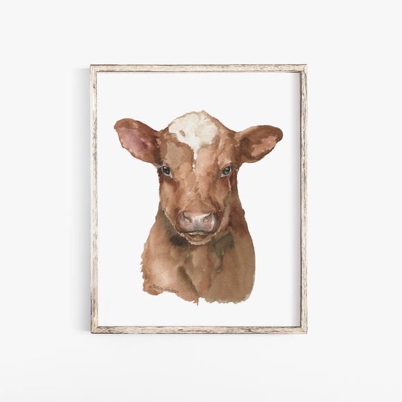Shorthorn Cow Calf Watercolor Painting