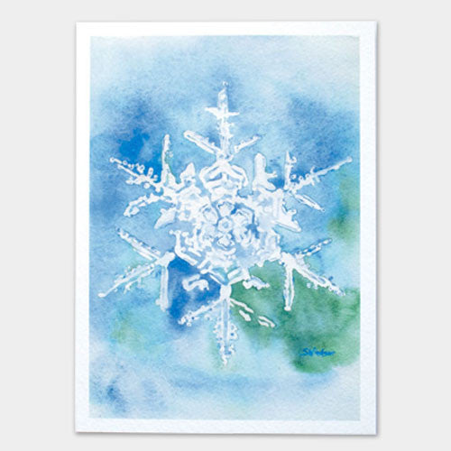 Snowflake watercolor painting christmas card set susan for Painted christmas cards