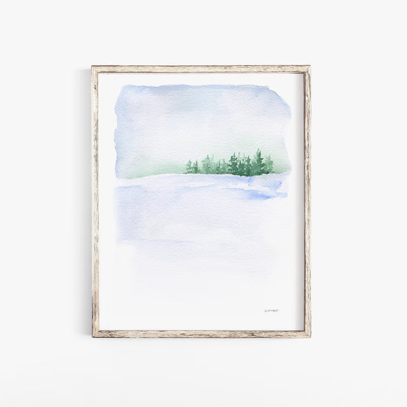 Snowy Winter Landscape Watercolor