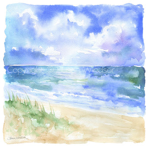 Beach and Sand Dunes Original Watercolor Painting