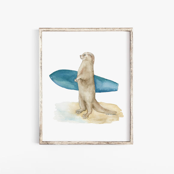 Surfer Otter Watercolor Painting Art Print