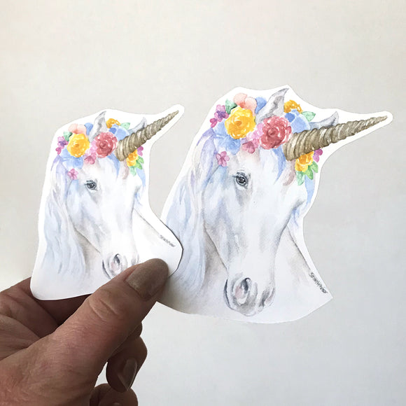 Unicorn with Floral Crown Sticker