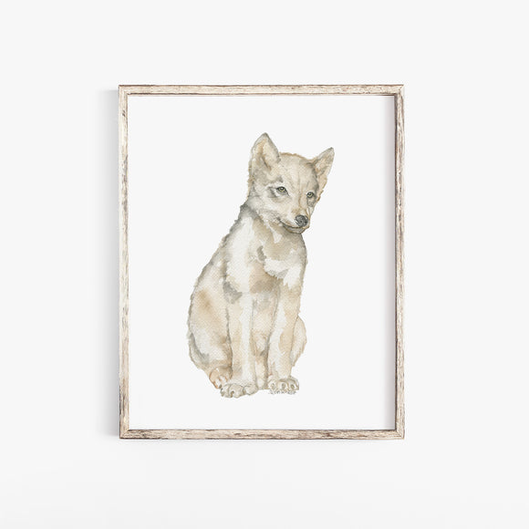 Gray Wolf Pup Watercolor Print