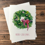 Watercolor Christmas Wreath Christmas Cards Set