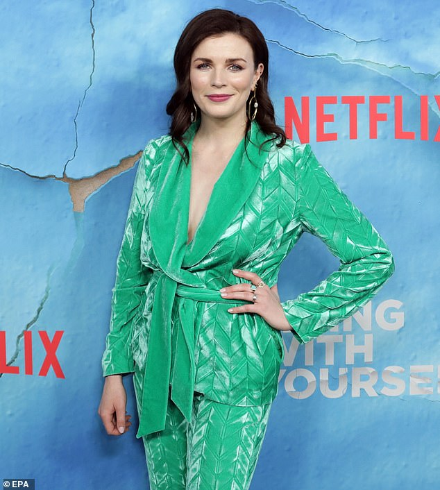 Aisling Bea wears AW19 Voltage Suit to 'Living with Yourself' premiere