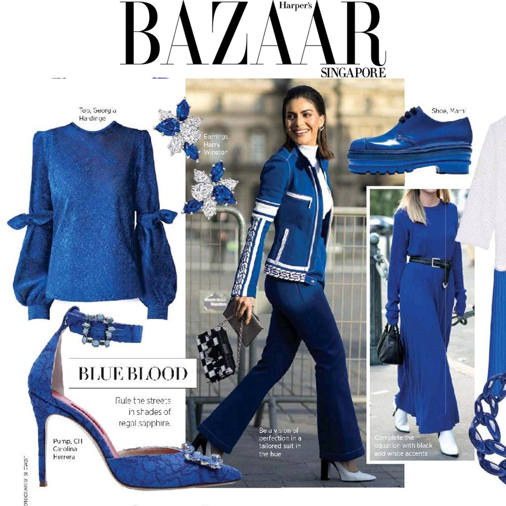 SS18 Cobalt Zinnia Blouse featured by Harpers Bazaar Singapore