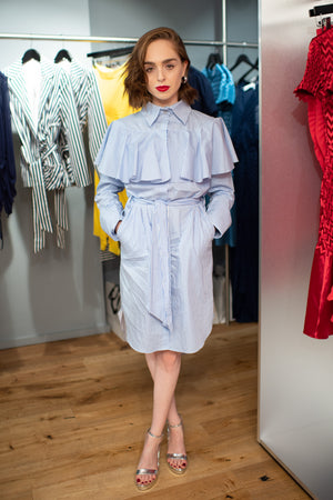 Louisa Connolly Burnham wears SS19 Linear Shirt Dress to Georgia Hardinge's Store Launch