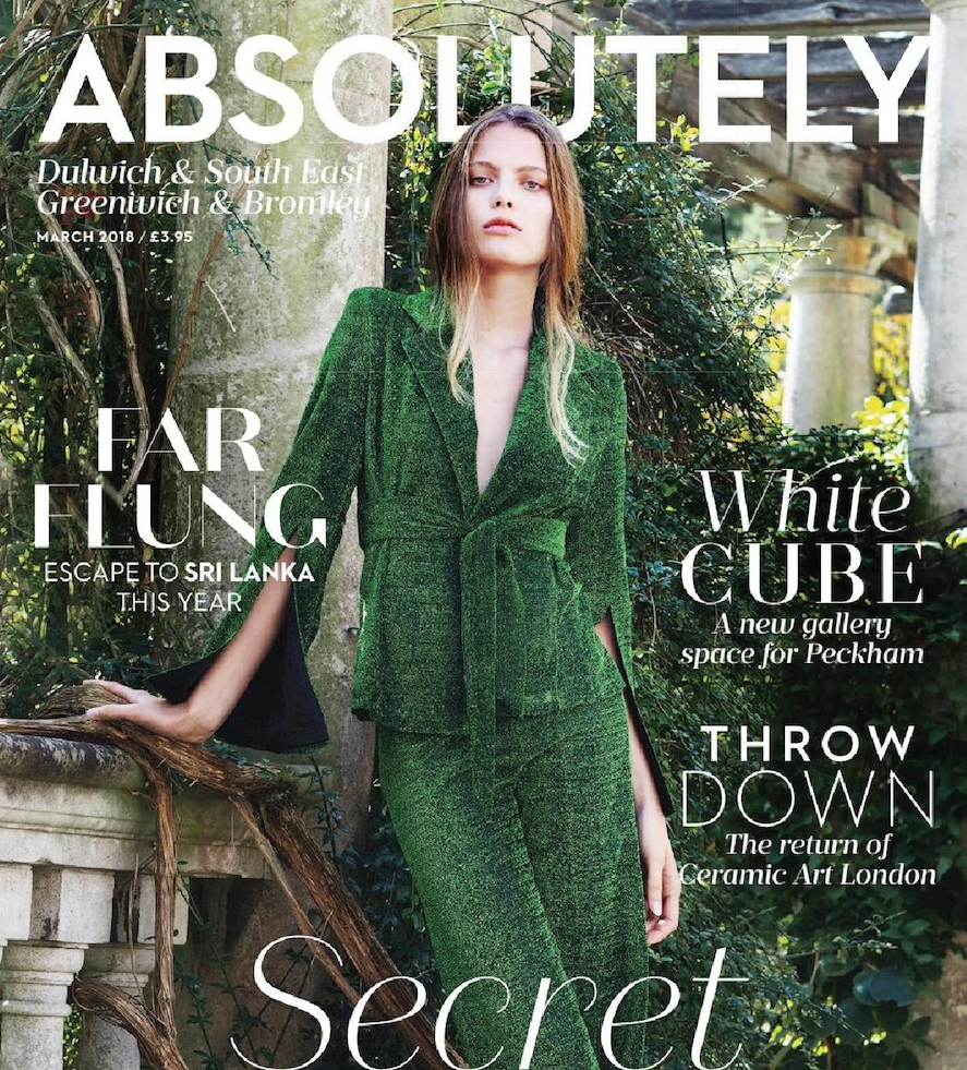 Georgia Hardinge SS18 Emerald Suit featured on the cover of Absolutely Magazine