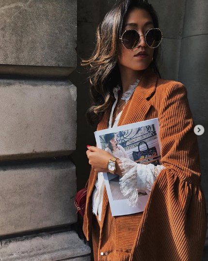 Felicia Evalina wears AW18 Sinclair Suit at LFW