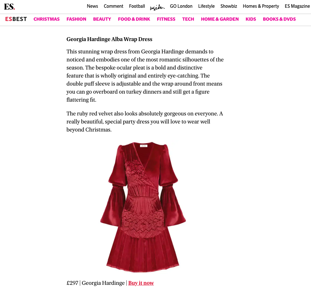 Evening Standard features AW18 Alba Wrap Dress on 'Best Christmas Party Dresses'
