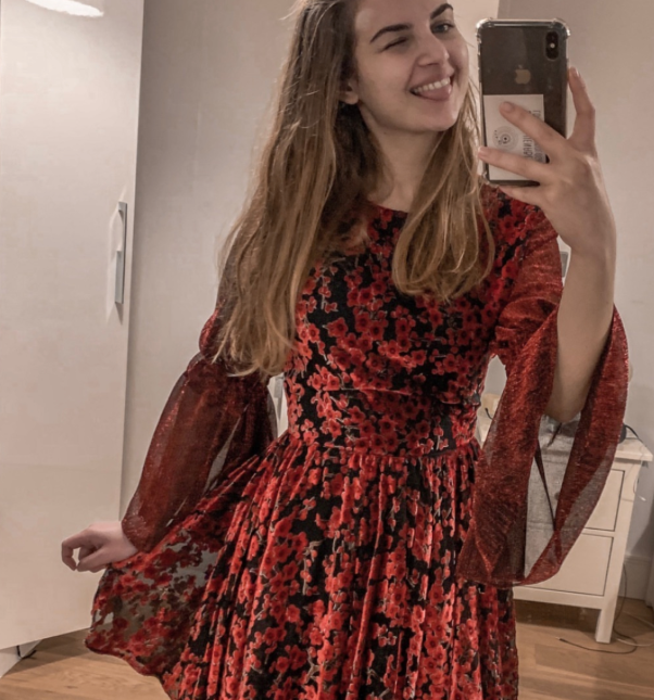 Melisa Beleli wears her AW18 Scarlet Dress