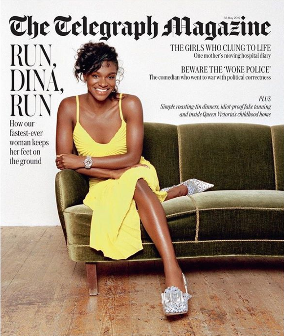 Dina Asha Smith wears SS19 Dazed Dress on the cover of The Telegraph Magazine