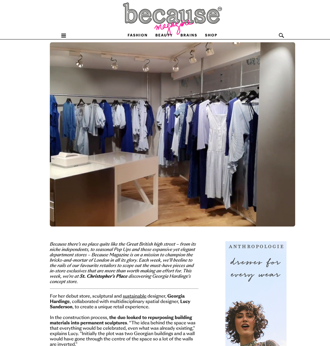 Because Magazine feature Georgia Hardinge's Flagship Store