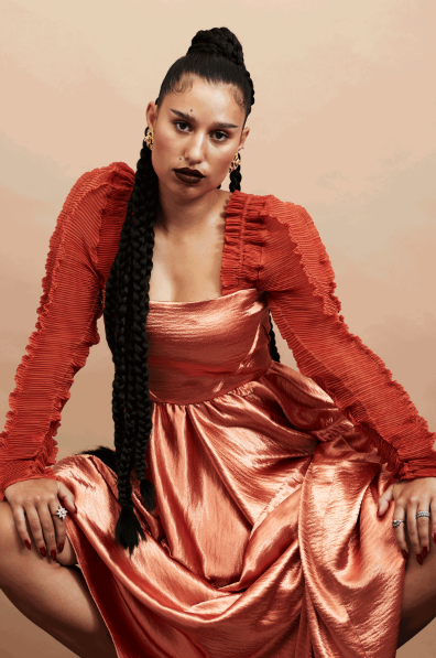 Raye wears AW19 Topaz Dress for an interview with Phoenix Magazine