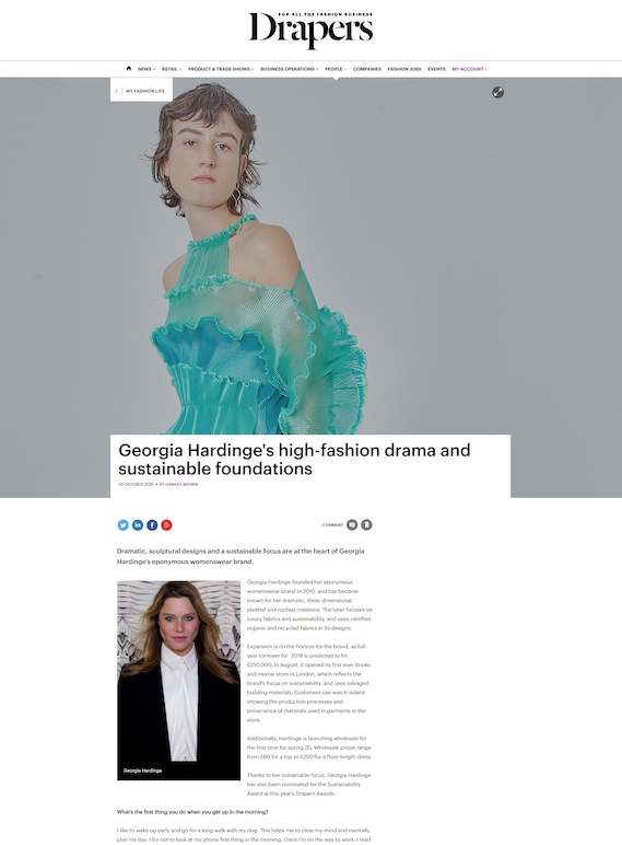 Drapers interview Georgia Hardinge on her sustainable foundations
