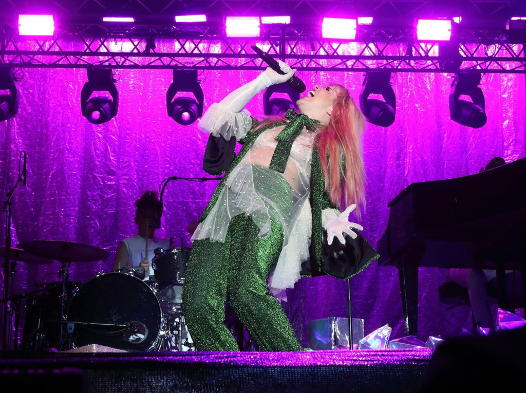 Paloma Faith wears SS18 Palm Suit on stage at Standon Calling