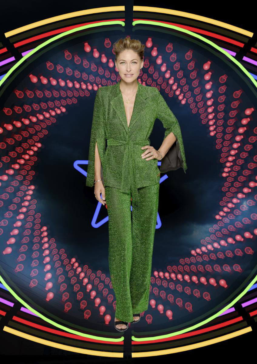 Emma Willis suit emerald sparkle hardinge