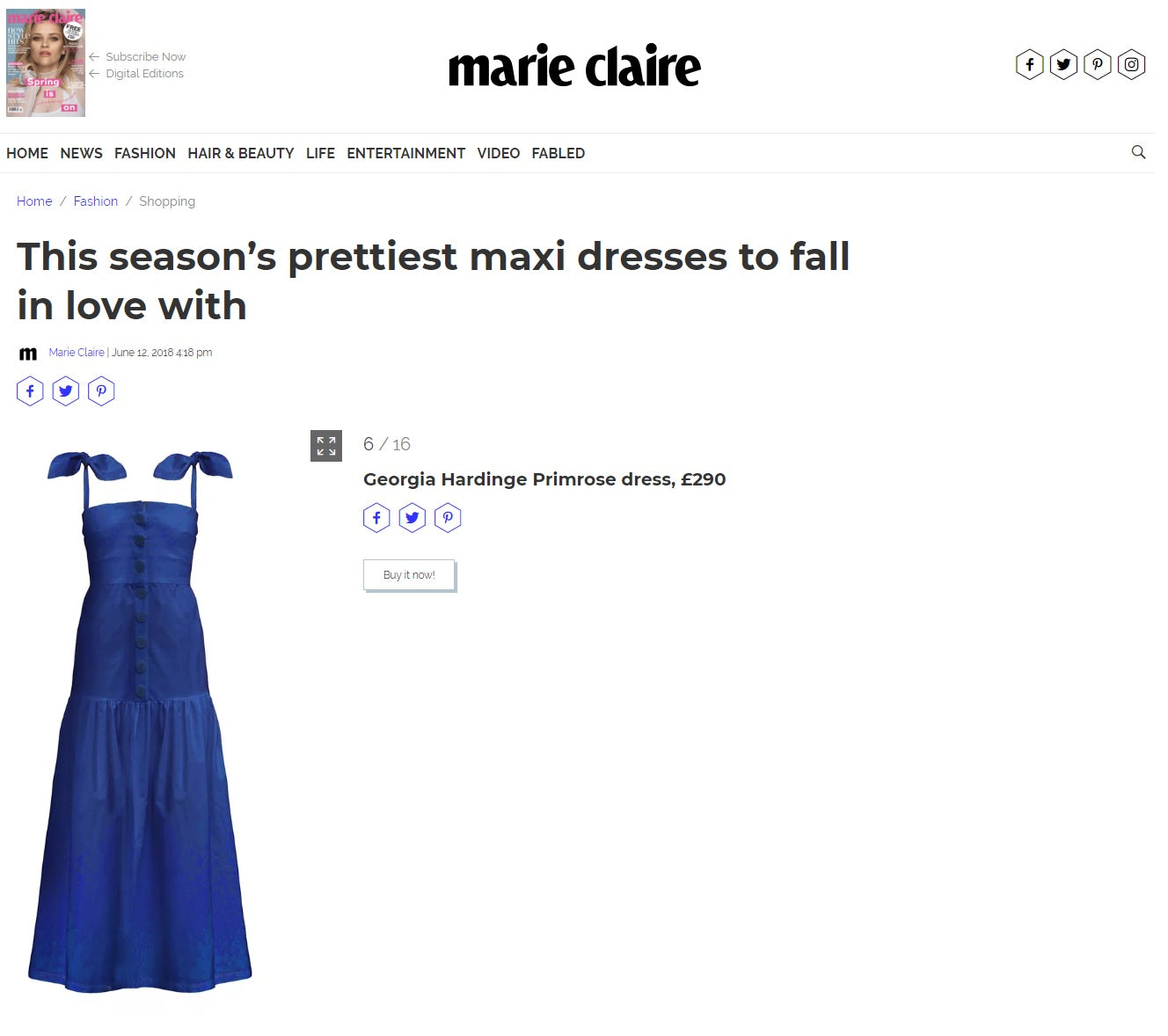 marie claire georgia hardinge navy cotton dress