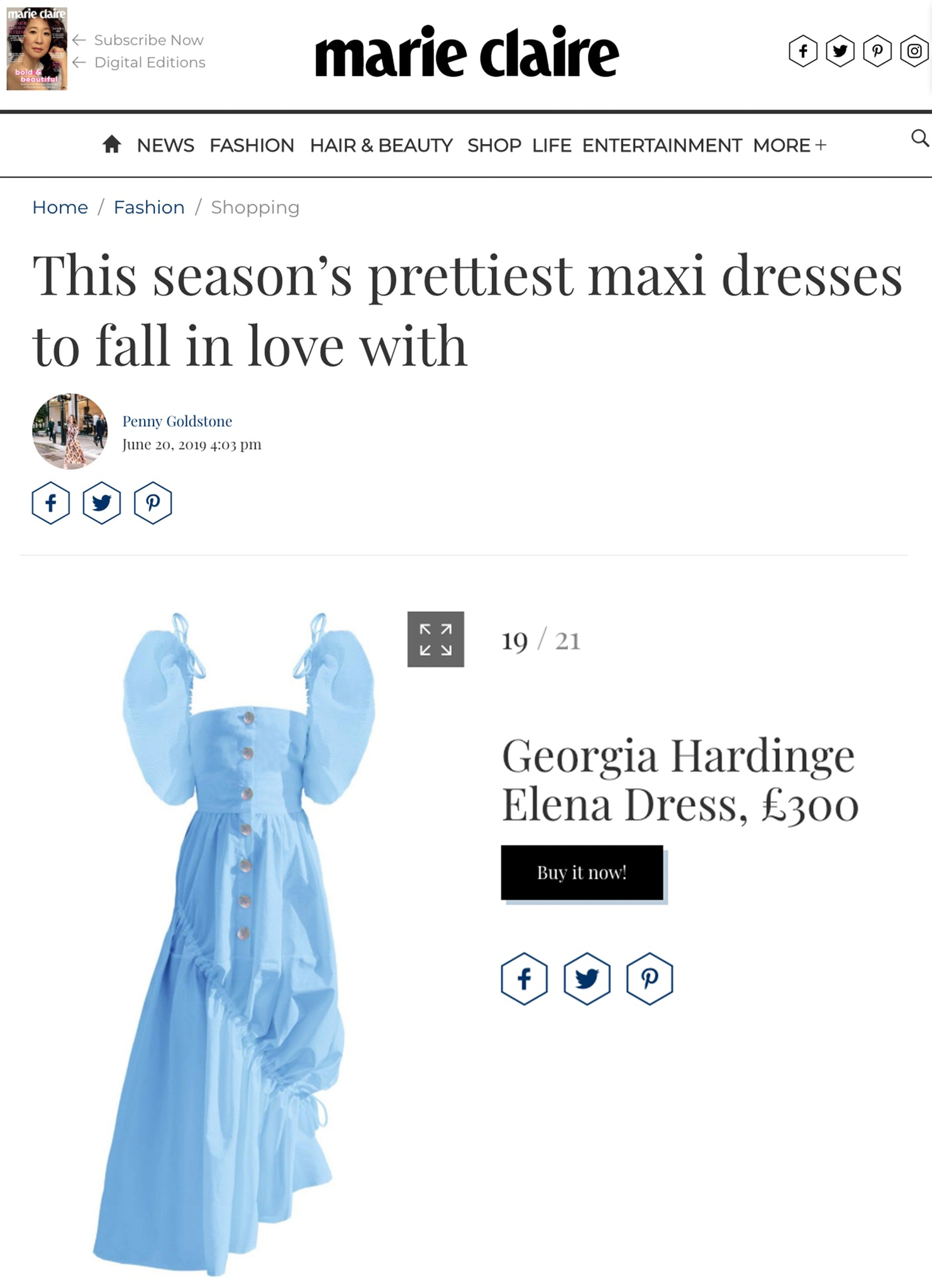 marie claire blue dress georgia hardinge