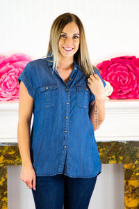 Regina Denim Short Sleeve Button Down Top