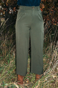 Trina Olive Cropped Wide Leg Pants