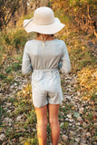 Pale Sage Girls Long Sleeve Mini Romper