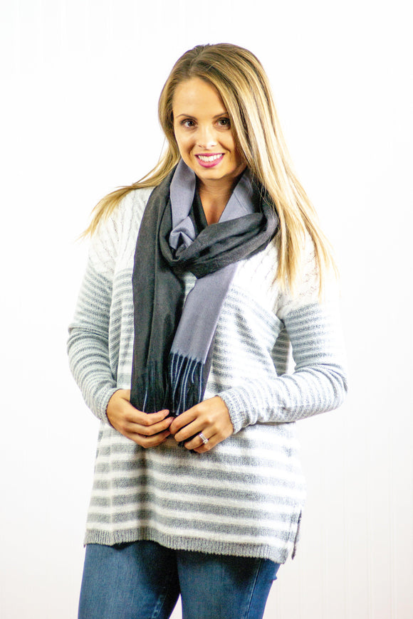 Double Sided Black And Grey Scarf