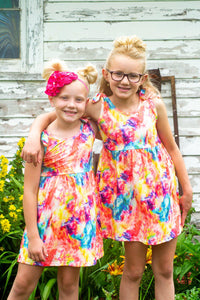 Lily Tie Dye With Knot Sleeve Girls Dresses