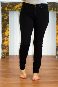 All Night Black Solid Skinny Jeans-Kan Can