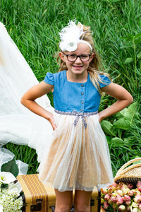 Feeling Fiesty Girls Denim And Tulle Dress With Mustard