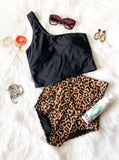 Wild And Free-Leopard High Waisted Swim Bottoms