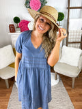 Denim For Days Bubble Sleeve Mineral Wash Dress