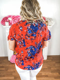 Take Me Away Floral Dark Coral Blouse Tank