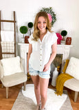White Blouse Top With Double Pockets