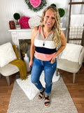 Maddie Multi Striped Button Henley Top