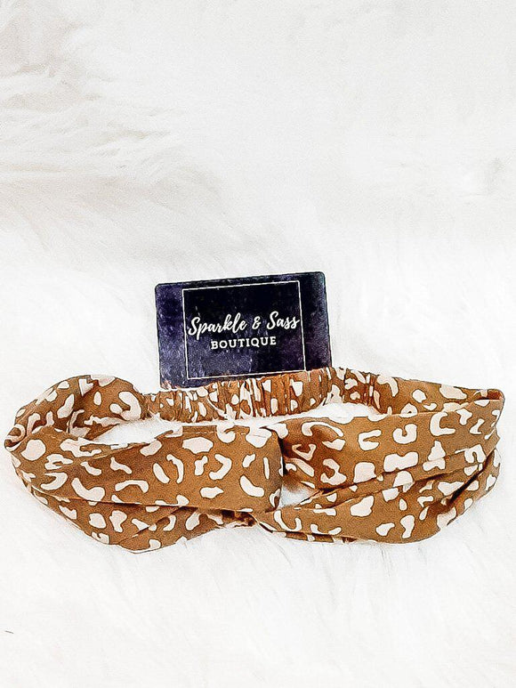 Headband in Leopard Print Tan And Taupe